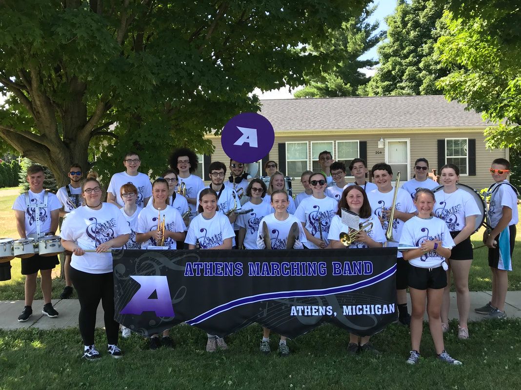 7th-12th grade band before the Homecoming Parade 2019